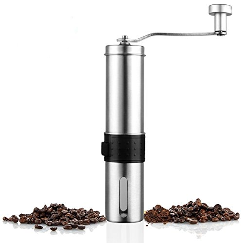 AOSHR Stainless Steel Manual Coffee Grinder with Adjustable Ceramic Conical Burr for Home, Traveling, Camping