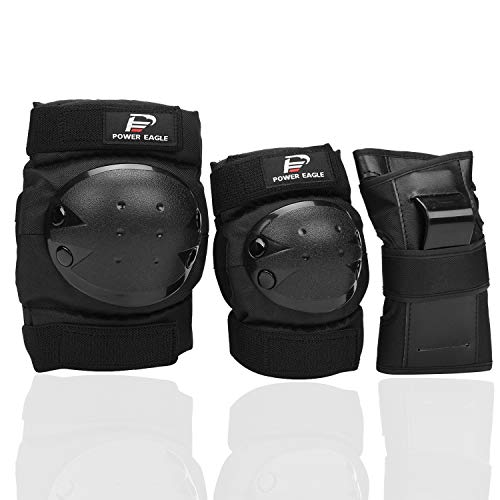 Power Eagle Kids Adults Knee Pads and Elbow Pads with Wrist Guards Protective Gear Suit for: Scooter, Skateboard, Bicycle, Snowboard, Inline Skating, Roller Skating Safety Protection (Black, Small)