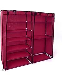 KING DO WAY 2-Door Shoe Rack Boot Storage Cabinet Dustproof Shoe & Clothes Closet Organizer Maroon