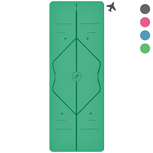 Liforme Travel Yoga Mat - World's Best Eco-Friendly, Light, Portable Non Slip Yoga Mat With Original Alignment Marker System. Available in Grey, Pink, Blue and Green … (Green)