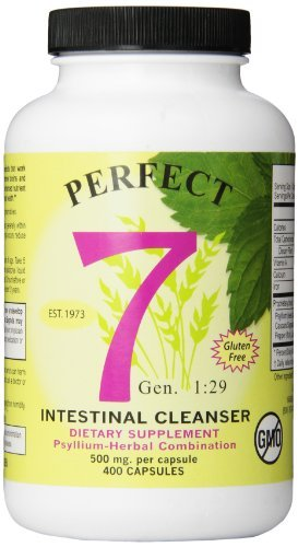 Agape Perfect 7 Intestinal Cleanser, Psyllium-Herbal Combination, 500 mg, 400 Count by Agape