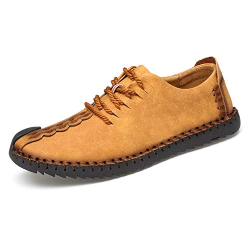 TUCSSON Men's Handmade Suede Leather Oxford Shoes British Style Flats Lace-up Loafers Casual ()