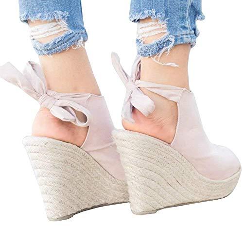 SySea Womens Wedge Sandals Peep Toe Tie Up Ankle Strap Espadrille Cut Out Platform Shoes
