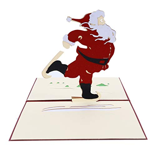 (DONGMING 3D Christmas Card Santa Claus Pop Up Greeting Cards Holiday Valentine Mothers Fathers Day Thanks Giving Day Card)