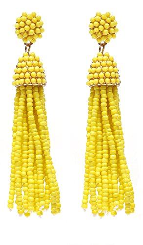 NLCAC Women's Beaded tassel earrings Long Fringe Drop Earrings Dangle Yellow