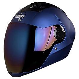 Steelbird SBA-2 Matt Full Face Helmet with Iridium Blue Visor (Blue, Large)