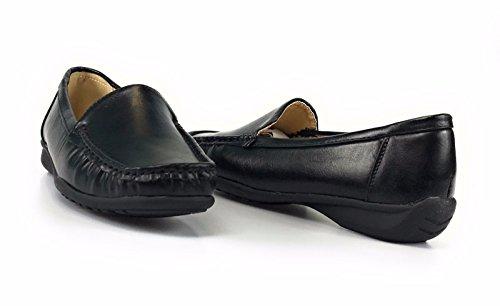 Pierre Dumas Kvinna Hassel-7 Svarta Läder Dagdrivare Bekväma Skor (8, Svart)