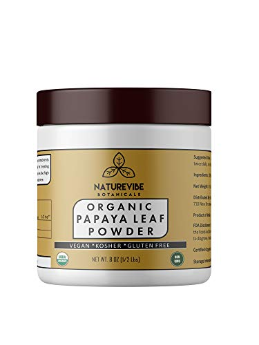 Naturevibe Botanicals Organic Papaya leaf powder (8 Ounces), Carica Papaya | Gluten Free & Non-GMO | Supports Digestion (Papaya Fruit Extract)
