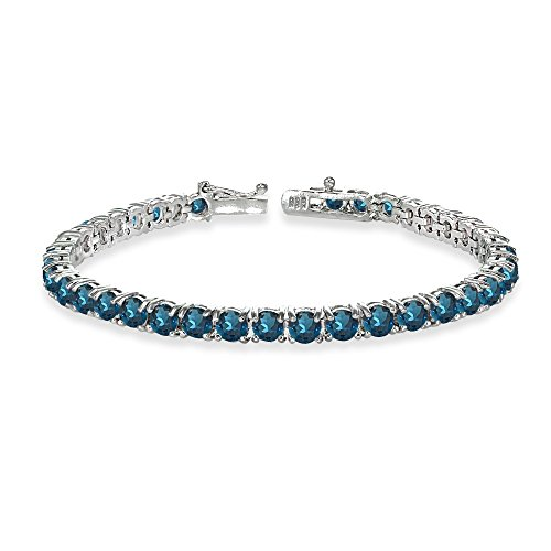 Sterling Silver 4mm London Blue Topaz Round-cut Tennis Bracelet by GemStar USA