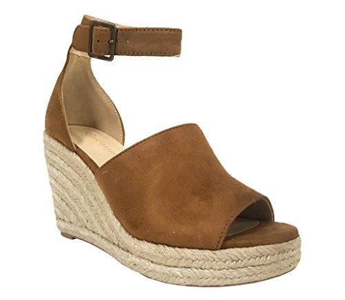 City Classified Joy Women's Ankle Strap Espadrilles Wedge Sandals, Hazel Faux Suede 8.5 M US (Classified Womens Shoes Wedge)