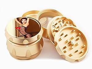 "Asian Girl Design Premium Grade Aluminum Tobacco,Herb Grinder -4Pcs Large (2.5"" Gold) # GLD-G121114-0033"