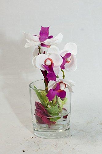 Lila Pink Weisse Phalaenopsis Im Runden Glas Tischgesteck Tischdeko