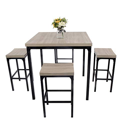 LUCKYERMORE 5 Piece Pub Dining Table Set Kitchen Table and Chairs for 4 Bar Stool Industrial Style Counter Height Square Dinette Set