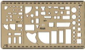 und Vorderansicht 1:50 Grundrissdarstellungen Seiten Sanitär-Schablone I