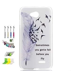 Patrón de la pluma transparente cáscara del teléfono de la PC esmerilado y el enchufe del polvo stylus pen stand de combinación para lg
