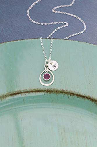 Bridesmaid Infinity Necklace - ROI - Sterling Silver Jewelry - 3/8 inch disc - Circle Eternity Charm - Personalized Initial - Wedding Gift Bride - Custom Birthstone - Fast 1 Day Production