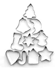 ShengHai Christmas Cookie Cutter Set - 10 Piece Favorite Holiday Cookie Cutters, Include: Gingerbread Girl, Christmas Tree, Snowflake, Gingerbread House, Bell, Heart, Star, Christmas Crutch and More