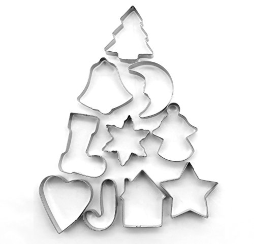 ShengHai Christmas Cookie Cutter Set - 10 Piece Favorite Holiday Cookie Cutters, Include: Gingerbread Girl, Christmas Tree, Snowflake, Gingerbread House, Bell, Heart, Star, Christmas Crutch and (Christmas Holiday Cookie Ornament)