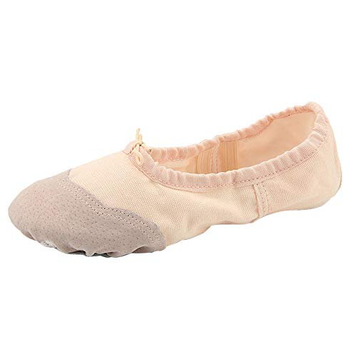 missfiona Womens Canvas Ballet Shoes Split-Sole Ballet Slippers Ballroom Yoga Gymnastic Practice Dance Flat(7, -