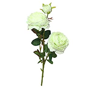 Caslia Artificial Fake Western Rose Flower Peony Bridal Bouquet Wedding Party Home Decor (Green) 48