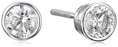 14k White Gold Bezel Set Diamond with Screw Post and Back Stud Earrings (1cttw, J-K Color, I1-I2 ()