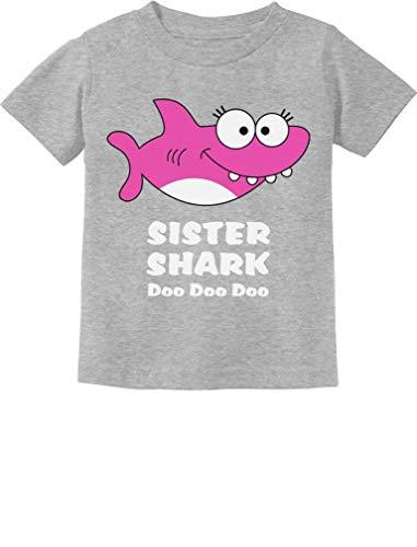 Tstars - Sister Shark Doo Doo Gift for Big Sister Toddler Kids T-Shirt 5/6 Gray ()
