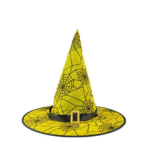 Spiderweb Skull Witch Hat Wizard Hats Caps Adults Carnival Accessories Party Christmas Halloween,Gold Belt ()