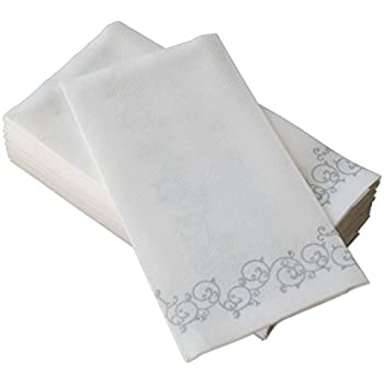SimuLinen Hand Towels U2013 Decorative SILVER Floral U2013 Durable, Cloth Like U0026  Disposable U2013 Guest
