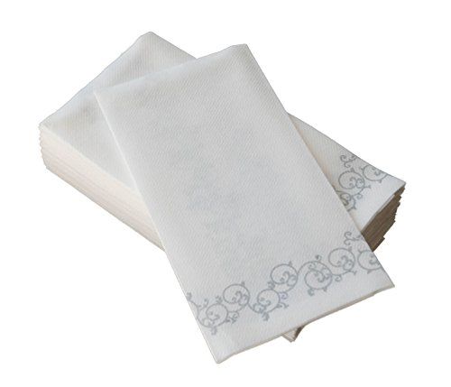 Simulinen Decorative Linen-Feel Bathroom Hand Towels - Silver Floral Disposable Paper Towels for Guests - Box of 100 - Perfect Size: 12x17 inches Unfolded & 8.5x4 inches Folded