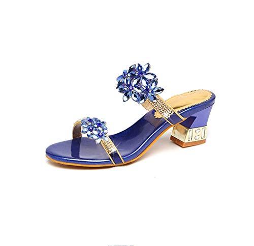 Piel Tacón Con Palabras Gruesas Nuevo Mujer Hrn Sandalias Flores Alto Strass De Verano Blue Y Zapatillas Moda Yqwztgv