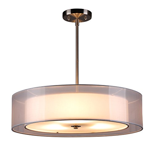 CO-Z Brushed Nickel 3 Light Double Drum Pendant Chandelier Lighting Fixture, Convertible Semi-Flush Mount Ceiling Light with Fabric Shades and Diffuser for Kitchen Island/ Dining Room/ (Antique Brushed Nickel Convertible)