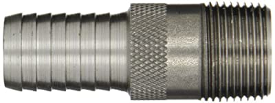Dixon ST Series Unplated Steel Hose Fitting, King Combination Nipple Threaded End with Knurled Wrench Grip, NPT Male x Hose ID Barbed