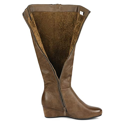DREAM PAIRS Women's Low Wedge Knee High Winter Fashion Boots
