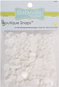 Babyville Boutique Snaps, White, 60 Count