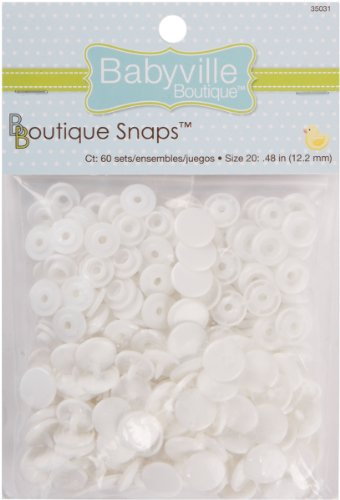 Babyville Boutique 35031 Snaps, Size 20, White (60-Sets)