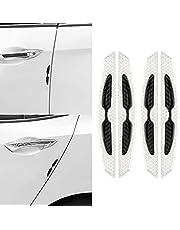 kwmobile reflecterende stickers voor autodeur - 4x stootstrips voor zijdeuren - Autodeur beschermers in zwart/grijs - 17x2,5 cm