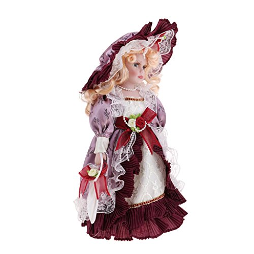 MagiDeal Dollhouse Miniature 30cm Porcelain Doll Victorian Lady in Gown People Figure Vintage Red