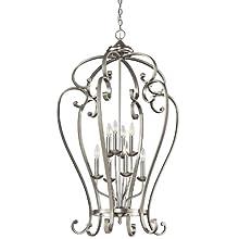 Kichler Lighting 43167NI Monroe 8-Light Foyer Pendant, Brushed Nickel Finish