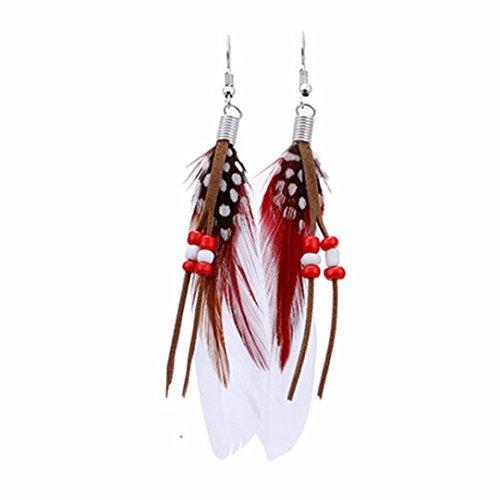 Chain Hook Earrings (DZT1968 Women Girl 10cm Bohemian Bead Tassel Feather Chain Dangle Earring hook (White))