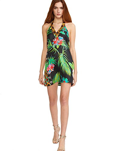 Halter Neck Dress Silk (Cynthia Rowley Women's Tate Halter Neck Mini Dress (10))