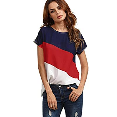 TOOPOOT 2018 New Womens Blouse,Autumn Casual Color Block Chiffon Short Sleeve Blouse Tops