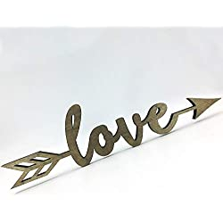 "Love Arrow Wood Sign Home Décor Wall Art Decor Unfinished 12"" x3"""