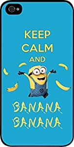 Keep Calm and Banana Banana- Hard Black Plastic Snap - On Case with Soft Black Lining-Apple Iphone 4 - 4s - Great Quality!