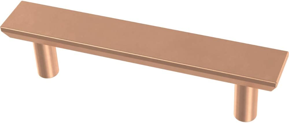 Franklin Brass P40844K-BCP-C Simple Chamfered Kitchen or Furniture Cabinet Hardware Drawer Handle Pull, 3-Inch (76mm), Brushed Copper, 10-Pack