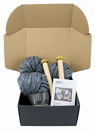 Chunky Knit Blanket DIY Kit, Super Soft Thick Yarn, Large Wood Knitting Needles (Charcoal Grey) by Rising Phoenix Industries (Image #3)