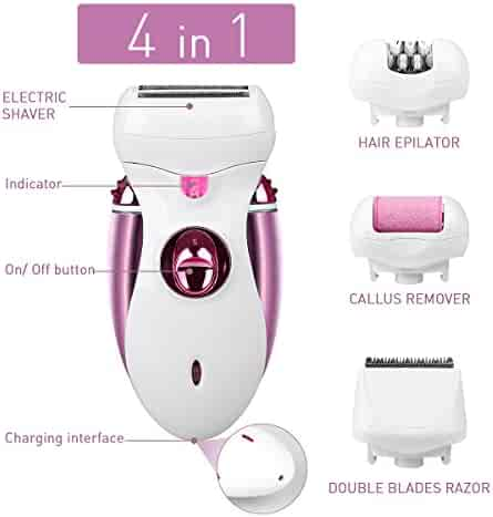 Hair Epilator, Buture Womens Epilator Cordless 4 IN 1 Electric Hair Remover Razor Shaver with Bikini Trimmer Callus Remover Hair Care Wet or Dry …