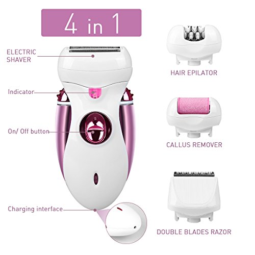 Hair Epilator, Buture Womens Epilator Cordless 4 IN 1 Electric Hair Remover Razor Shaver with Bikini Trimmer Callus Remover Hair Care Wet or Dry ()