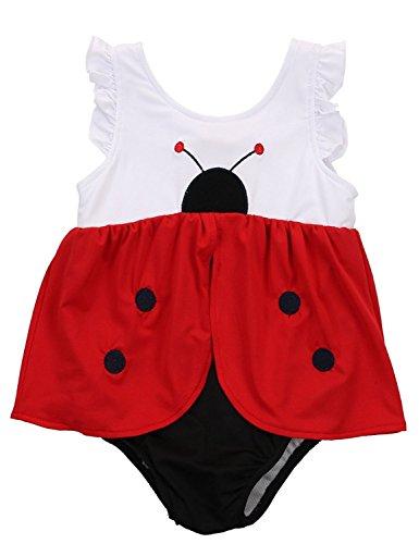 Cartoon One Piece (EGELEXY children Girls Ladybug Red Swimsuit Summer Beach Cartoon One Piece Swimsuits Size 4T (Red))