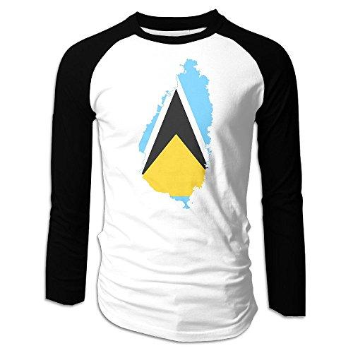 Liberia Sheet (NUNOFOG Flag Map Of Saint Lucia Men's Baseball Tee Raglan Long Sleeve T Shirt Novelty Crew Neck Polyester Tshirt)