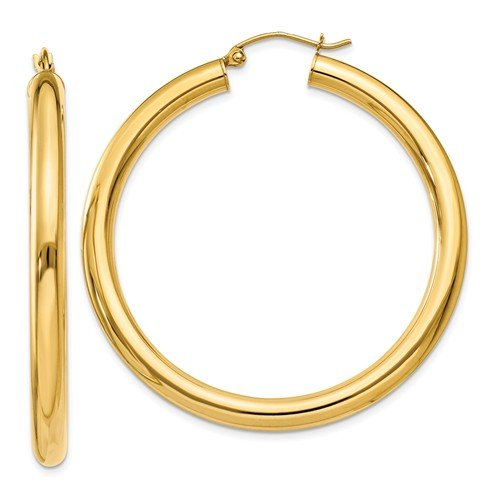 14k Yellow Gold Polished 4mm Lightweight Round Hoop Earrings (1.5IN Long) by Jewelry Pot (Image #1)